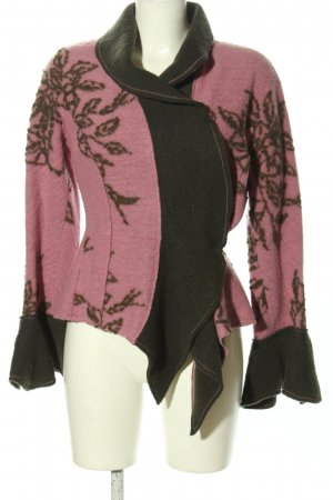 Anja Gockel Veste en laine rose-brun motif de fleur élégant
