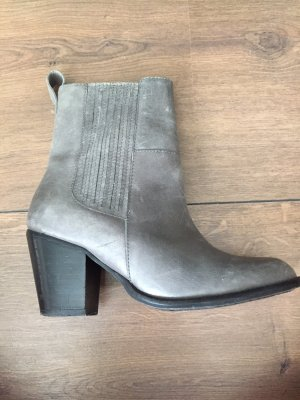 H&M Premium Ankle Boots grey-light grey leather