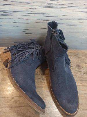 Ankle Boot Stiefelette Bootie Tamaris Gr. 41 blau mit Fransen kaum getragen!