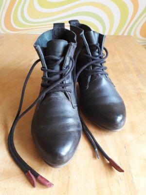 Ankle Boots, blaues Leder