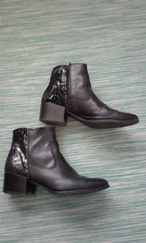 Ankle Boots Gr. 38 Leder schwarz/silber Tamaris