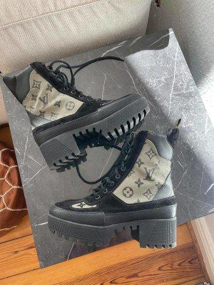 Ankle Boots Laureate Desert Ankle Platform von Louis Vuitton 37.5 Stiefel Stiefeletten LV Logo Schuhe