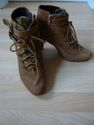 Ankle Boots, Marke: Alba Moda, Gr. 38, Nubukleder, Farbe: cognac, getragen, super Zustand