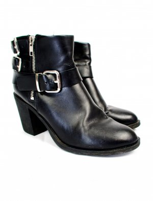 H&M Divided Ankle Boots black-silver-colored leather