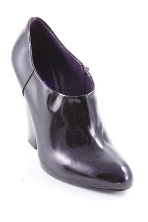 Ankle Boots schwarz-dunkelviolett Lack-Optik