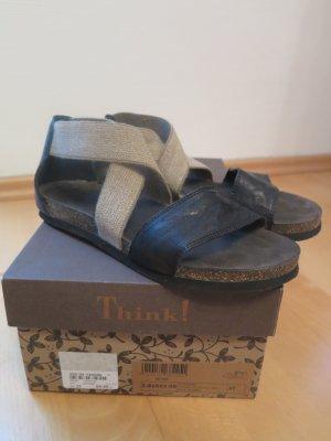 Think! Comfort Sandals black-green grey mixture fibre