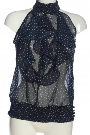 Ann Christine ärmellose Bluse blau-weiß Punktemuster Elegant