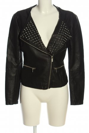 Ann Christine Faux Leather Jacket black casual look