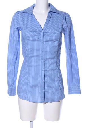 Ann Christine Chemise à manches longues bleu-blanc motif rayé