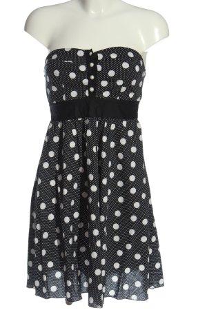 Ann Christine schulterfreies Kleid schwarz-weiß Punktemuster Casual-Look