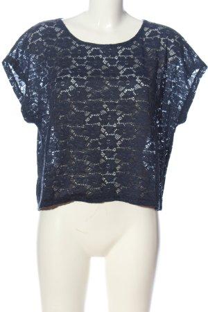 Ann Christine Kanten blouse blauw casual uitstraling