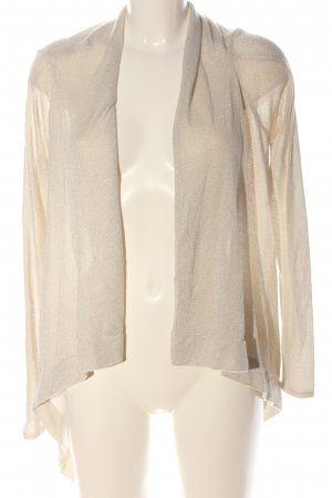 Ann Christine Knitted Cardigan cream-silver-colored cable stitch wet-look