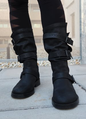 Ann Demeulemeester Biker Boots black leather