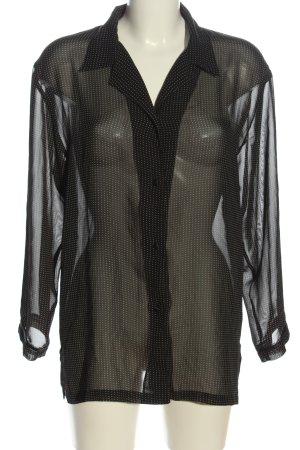 Ann LLewellyn Hemdblouse zwart-wolwit gestippeld patroon casual uitstraling