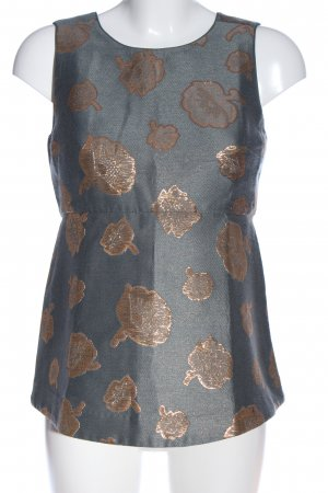 Ann Taylor Sleeveless Blouse light grey-bronze-colored flower pattern