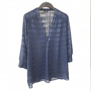 Ann Taylor Transparent Blouse dark blue