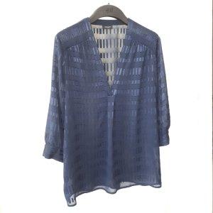 Ann Taylor Transparentna bluzka ciemnoniebieski Poliester