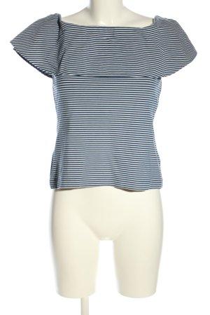 Ann Taylor Camisa tipo Carmen negro-blanco estampado a rayas look casual