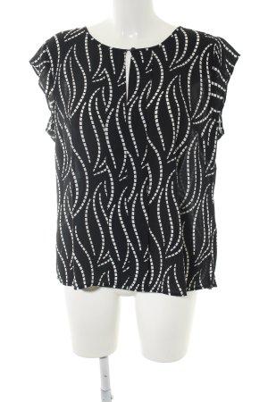 Ann Taylor Kurzarm-Bluse schwarz-weiß Allover-Druck Business-Look