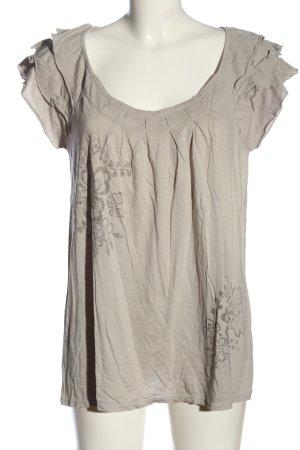 Ann Taylor LOFT Blouse met korte mouwen wolwit-bruin bloemenprint