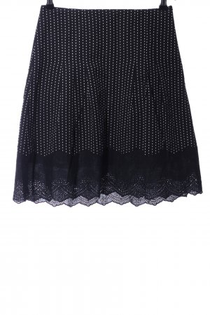 Ann Taylor Lace Skirt black-white spot pattern casual look
