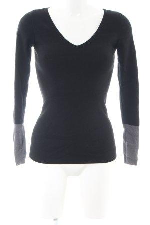Ann Taylor Jersey con cuello de pico negro-gris claro look casual