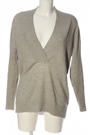 Ann Taylor V-Neck Sweater light grey flecked casual look