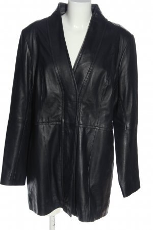 Anna Aura Veste en cuir noir style décontracté