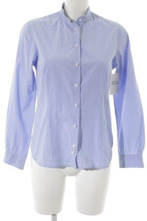 Anna David Blouse-chemisier bleu azur-blanc motif à carreaux style d'affaires