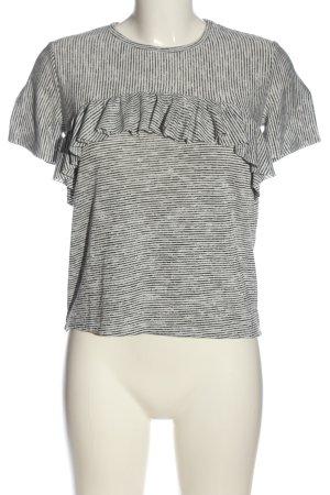 anna & ella Jersey de manga corta blanco-negro estampado a rayas look casual