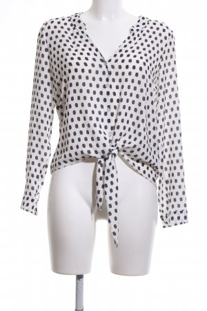 anna & ella Long Sleeve Blouse white-black spot pattern elegant