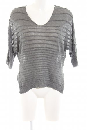 anna & ella Mesh Shirt light grey striped pattern casual look