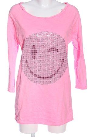 Anna F. Langarm-Bluse pink Motivdruck Casual-Look