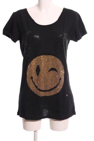 Anna F. Lang shirt zwart prints met een thema casual uitstraling