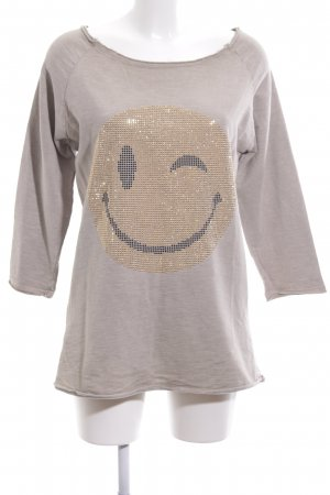 Anna F. Sweat Shirt light grey-gold-colored themed print casual look