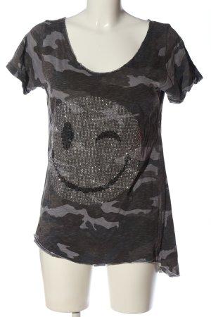Anna F. T-Shirt hellgrau Camouflagemuster Casual-Look