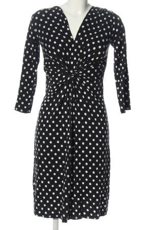 Anna Field Jurk met lange mouwen zwart-wit gestippeld patroon casual uitstraling