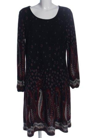Anna Field Sukienka z długim rękawem czarny-czerwony Wzór w kwiaty