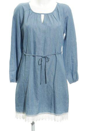 Anna Field Jurk met lange mouwen blauw-wit Jeans-look