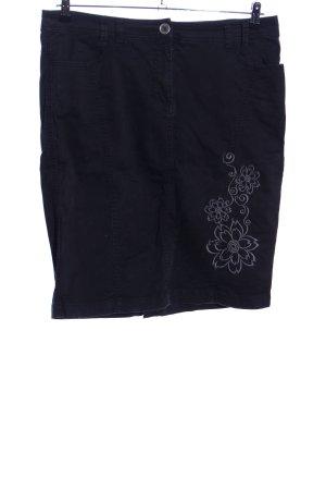 Anna Field Jupe mi-longue noir-gris clair motif de fleur style décontracté