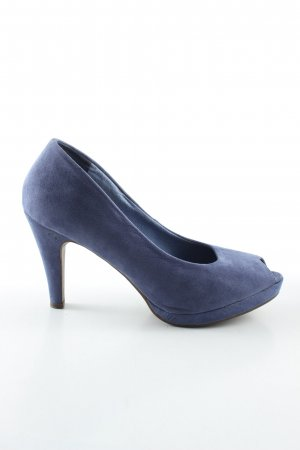 Anna Field Tacones con punta abierta azul look casual