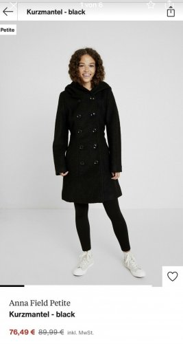 Anna Field Hooded Coat black