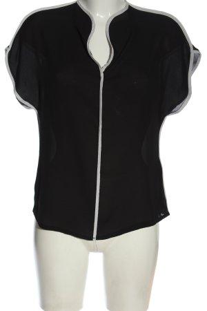Anna Field Ruche blouse zwart-wit casual uitstraling
