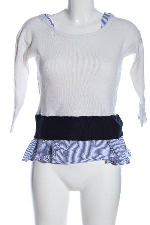 Anna Field Rundhalspullover weiß-blau Streifenmuster Casual-Look