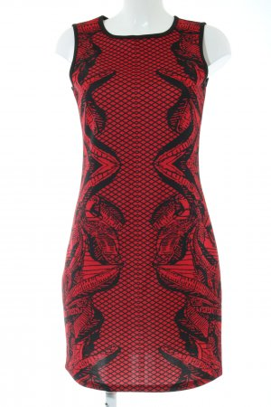 Anna Field Stretchkleid rot-schwarz abstraktes Muster Casual-Look