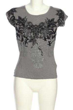Anna Field T-Shirt hellgrau-schwarz Blumenmuster Casual-Look