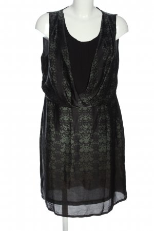 Anna Field Vestido de chifón negro-caqui estampado con diseño abstracto
