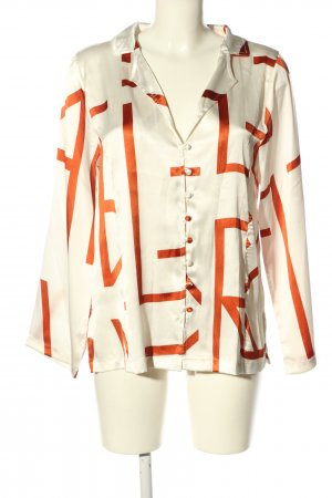 ANNA+NINA Blouse brillante blanc-orange clair style d'affaires