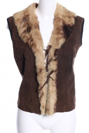 Anna Rachele Leather Vest brown-natural white casual look