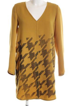 Anna Rita N Mini-jurk sleutelbloem-lichtgrijs volledige print klassieke stijl